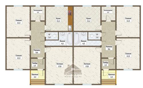 план дома на 2 семьи молодежный