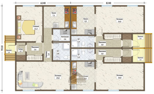 план дома-дуплекс вариант 2